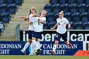 Karina Olkhovik (#17) of Belarus celebrates scoring Belarus' first goal (0-1) during the FIFA Women's World Cup UEFA Qualifier match between Scotland Women and Belarus Women at Falkirk Stadium, Falkirk, Scotland on 7 June 2018. Picture by Craig Doyle.