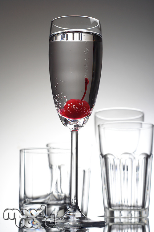 Studio shot of drink in champagne glass