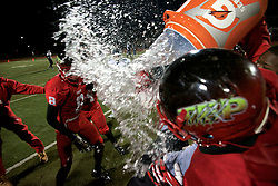"2013 PIAA D12 AA High-school Football Championship, Benjamin L. Johnston Memorial Stadium, Northwest Philadelphia, PA, USA - November 15, 2013; The Imhotep Panthers give head coach Albie Crosby a celebratory Gatorade 'shower' after the 48-8 win over the West Catholic Burrs on Friday night.<br /> <br /> ( Photo is published earlier on WHYY's NewsWorks.org as part of the November 16, 2013 story by Brian Hickey: ""Imhotep Panthers win city's AA high-school football championship"" - http://www.newsworks.org/index.php/nw-philadelphia-more-stories/item/61978-imhotep-charter-panthers-win-the-aa-city-high-school-football-championship )"