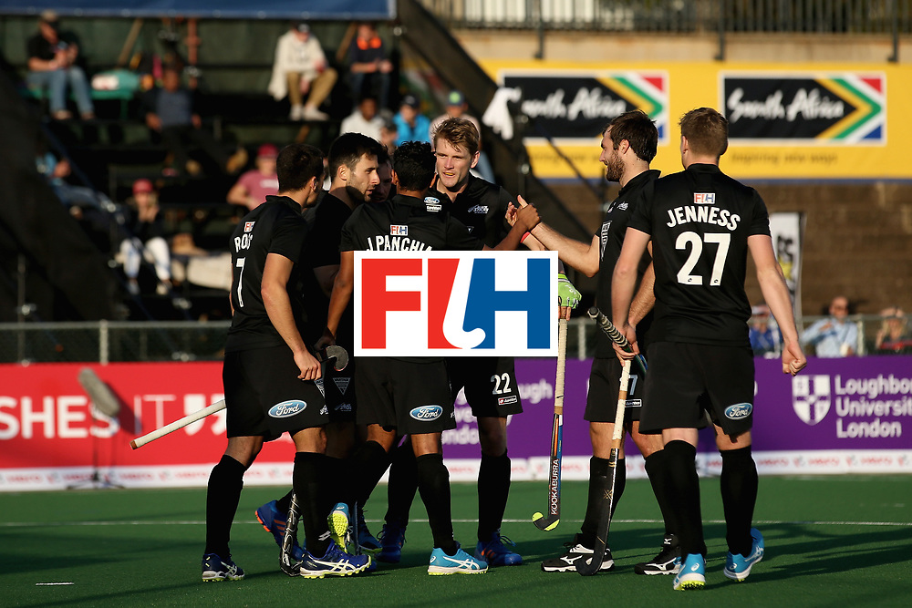JOHANNESBURG, SOUTH AFRICA - JULY 11: Jared Panchia of New Zealand celebrates scoring their teams first goal with teammates during day 2 of the FIH Hockey World League Semi Finals Pool A match between New Zealand and Japan at Wits University on July 11, 2017 in Johannesburg, South Africa. (Photo by Jan Kruger/Getty Images for FIH)