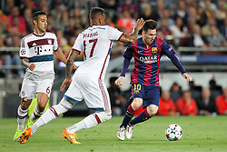 06.05.2015, Camp Nou, Barcelona, ESP, UEFA CL, FC Barcelona vs FC Bayern Muenchen, Halbfinale, Hinspiel, im Bild l-r: im Zweikampf, Aktion, mit Thiago Alcantara #6 (FC Bayern Muenchen), Jerome Boateng #17 (FC Bayern Muenchen) und Lionel Messi #10 (FC Barcelona) // during the UEFA Champions League semi finals 1st Leg match between FC Barcelona and FC Bayern Munich at the Camp Nou in Barcelona, Spain on 2015/05/06. EXPA Pictures © 2015, PhotoCredit: EXPA/ Eibner-Pressefoto/ Kolbert<br /> <br /> *****ATTENTION - OUT of GER*****