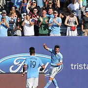 NEW YORK, NEW YORK - May 29:  David Villa #7 of New York City FC celebrates after scoring during the New York City FC Vs Orlando City, MSL regular season football match at Yankee Stadium, The Bronx, May 29, 2016 in New York City. (Photo by Tim Clayton/Corbis via Getty Images)