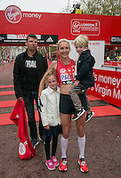 Paula Radcliffe with her family after completing her last marathon in The Virgin Money London Marathon, Sunday 26th April 2015.<br /> <br /> Roger Allen for Virgin Money London Marathon<br /> <br /> For more information please contact Penny Dain at pennyd@london-marathon.co.uk
