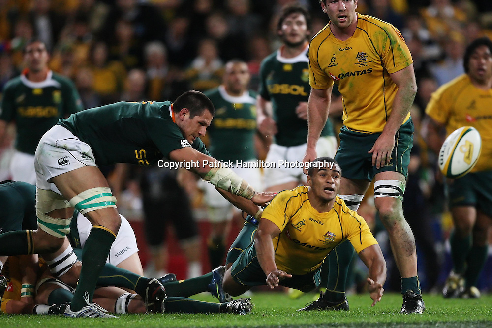 Will Genia during the Tri-Nations rugby Test at Suncorp Stadium in Brisbane,  July 24, 2010. The Wallabies defeated the world champion Springboks to win the first Tri-nations rugby Test 30-13. Photo: Patrick Hamilton/Photosport