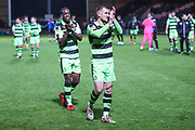 Forest Green Rovers Isaiah Osbourne(34) and Forest Green Rovers Lee Collins(5) applaud the fans at the end of the match during the EFL Sky Bet League 2 match between Yeovil Town and Forest Green Rovers at Huish Park, Yeovil, England on 24 April 2018. Picture by Shane Healey.