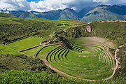 Circular terraces of the Inca agricultural site at Moray in Sacred Valley, Peru.