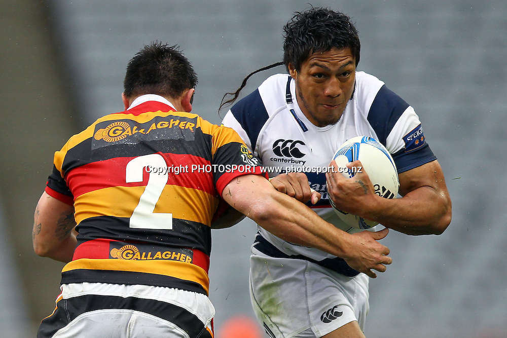 Auckland's George Moala charges into Waikato's Marcel Cummings-Toone. ITM Cup rugby union match, Auckland v Waikato at Eden Park, Auckland, New Zealand. Saturday 8th September 2012. Photo: Anthony Au-Yeung / photosport.co.nz