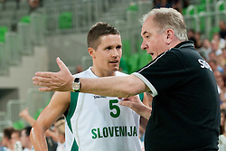 Bozidar Maljkovic coach of Slovenia talking to Jaka Lakovic of Slovenia at friendly match between Slovenia and Montenegro for Adecco Cup 2011 as part of exhibition games before European Championship Lithuania on August 7, 2011, in SRC Stozice, Ljubljana, Slovenia. (Photo by Matic Klansek Velej / Sportida)