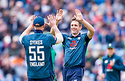 Picture by Allan McKenzie/SWpix.com - 19/05/2019 - Sport - Cricket - 5th Royal London One Day International - England v Pakistan - Emerald Headingley Cricket Ground, Leeds, England - England's Chris Woakes successfiully dismisses Pakistan's Mohammad Hafeez.