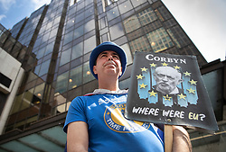 © Licensed to London News Pictures. 30/04/2019. London, UK. Anti-Brexit campaigner Steve Bray holds a placard depicting Labour Party Leader Jeremy Corbyn as he stands outside Party headquarters. A National Executive Meeting is in progress at which Labour's position on a second EU vote will be decided. Photo credit: Peter Macdiarmid/LNP