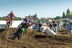 September 30, 2018 - Imola, BO, Italy - Alessandro LUPINO (ITA) leads the group at the second turn of beginning lap in Race 1 of MXGP Italy in Imola. (Credit Image: © Riccardo Righetti/ZUMA Wire)