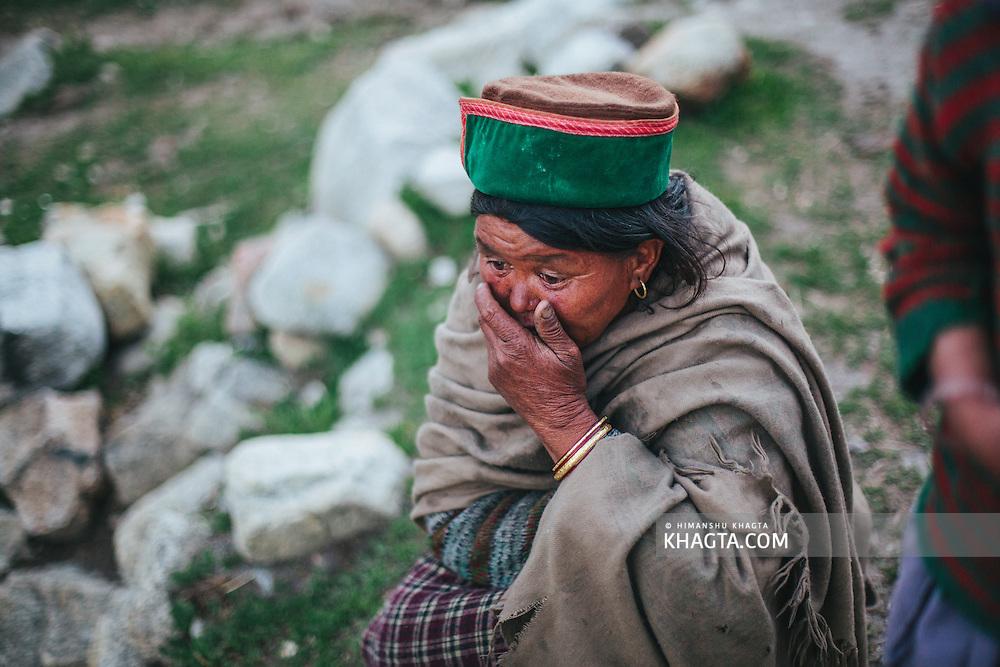 A Kinnauri lady at Chitkul village of Kinnaur, Himachal Pradesh, India