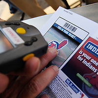 CLEVELAND, OH USA - JULY 6: A ticket is scanned before the game between the Cleveland Indians and the New York Yankees at Progressive Field in Cleveland, OH, USA on Wednesday, July 6, 2011.