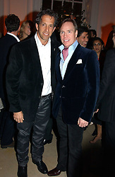 A party hosted by Mario Testino, Bianca Jagger and Kenneth Cole in collaboration with UNFPA and Marie Stopes International to celebrate the publication of Women to Woman: Positively Speaking - a book to raise awareness of women living with HIV/Aids, held at The Orangery, Kensington Palace, London on 2nd December 2004.<br />Picture shows:- Left to right,  Fashion designers KENNETH COLE and MR TOMMY HILFIGER.<br /><br /><br />NON EXCLUSIVE - WORLD RIGHTS