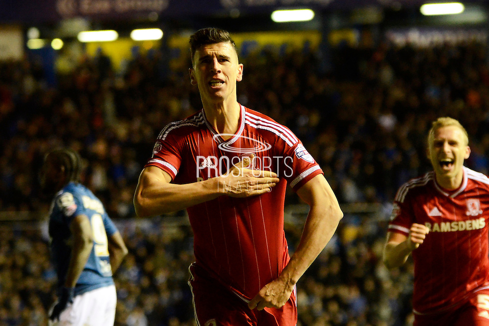 Middlesbrough defender Daniel Ayala celebrates but goal is disallowed during the Sky Bet Championship match between Birmingham City and Middlesbrough at St Andrews, Birmingham, England on 29 April 2016. Photo by Alan Franklin.