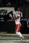 Kansas City Chiefs kick returner Knile Davis (34) catches a kick off during the NFL week 12 regular season football game against the Oakland Raiders on Thursday, Nov. 20, 2014 in Oakland, Calif. The Raiders won their first game of the season 24-20. ©Paul Anthony Spinelli