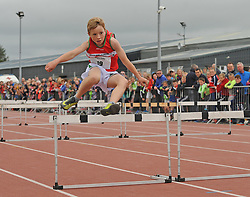 Up and Over Jack Connell from Belmullet during the boys u14 80m hurdles at Mayo Community Games.<br /> Pic Conor McKeown