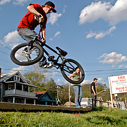 Nick Beiting BMX riding on Eastern Avenue.
