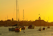 Balboa Pavilion At Sunset Newport Beach California
