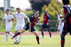 Neva Kumalic of ZNK Olimpija Ljubljana and Polina Shatsilenia of FC Minsk during football match between FC Minsk and ZNK Olimpija Ljubljana in 2nd Qualifying Group of UEFA Women's Champions League 2018/19, on August 7, 2018 in Stadion ZAK, Ljubljana, Slovenia. Photo by Urban Urbanc / Sportida