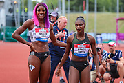 Shaunae MILLER-UIBO of the Bahamas, winner of the Women's 100m, poses with second placer, Dina ASHER-SMITH of Great Britain during the Muller Grand Prix 2018 at Alexander Stadium, Birmingham, United Kingdom on 18 August 2018. Picture by Toyin Oshodi.