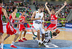 Jonas Valanciunas #14 of Lithuania, Martynas Pocius #13 of Lithuania and Luka Zoric #14 of Croatia during basketball match between National teams of Lithuania and Croatia in Semifinals at Day 17 of Eurobasket 2013 on September 20, 2013 in Arena Stozice, Ljubljana, Slovenia. (Photo by Vid Ponikvar / Sportida.com)