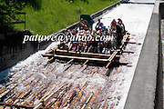 Bavarian rafting on river Isar, Bayern, Germany