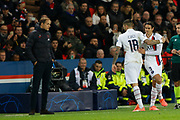 Coach Thomas Tuchel, Edison Cavani and Mauro Icardi of PSG during the UEFA Champions League, Group A football match between Paris Saint-Germain and Club Brugge on November 6, 2019 at Parc des Princes stadium in Paris, France - Photo Mehdi Taamallah / ProSportsImages / DPPI