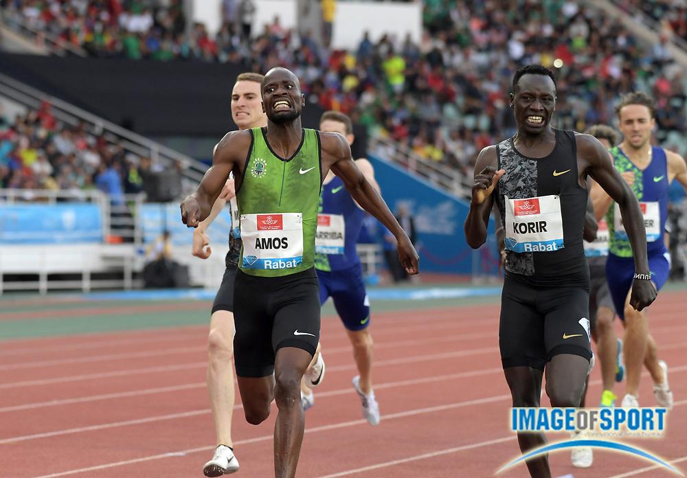 Jun 16, 2019; Rabat, Morocco; Nijel Amos (BOT) defeats Emmanuel Korir (KEN) to win the 800m, 1:45.57 to 1:45.60 during the Meeting International Mohammed VI d'Athletisme de Rabat at Prince Moulay Abdellah Stadium.