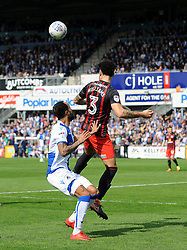 Derrick Williams of Blackburn Rovers heads clear from Byron Moore of Bristol Rovers - Mandatory by-line: Neil Brookman/JMP - 14/04/2018 - FOOTBALL - Memorial Stadium - Bristol, England - Bristol Rovers v Blackburn Rovers - Sky Bet League One