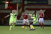 Crewe captain Paul Green is pulled down by Hiram Boateng during the EFL Sky Bet League 2 match between Crewe Alexandra and Exeter City at Alexandra Stadium, Crewe, England on 20 February 2018. Picture by Graham Holt.