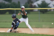 Pennsylvania's Dylan Pegg steals second as the throw goes past second baseman  Chris Dillaquilla during a elimination bracket game of the Eastern Regional Senior League tournament held in West Deptford on Monday, August 8.