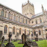 Cemetery of Wells Cathedral in Wells, Somerset, United Kingdom. Some of the building dates back to the 10th Century.