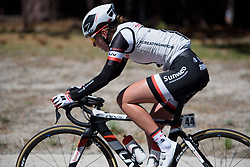 Juliette Labous goes solo at Amgen Breakaway from Heart Disease Women's Race empowered with SRAM (Tour of California) - Stage 2. A 108km road race in South Lake Tahoe, USA on 12th May 2017.