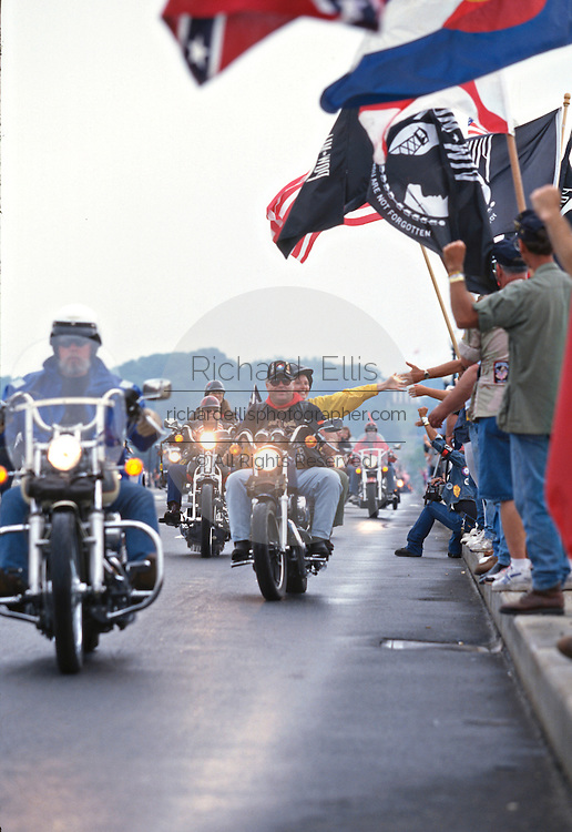 Procession of motorcyclists in honor of Vietnam Veterans during Operation Rolling Thunder May 25, 1997 in Washington, DC.