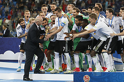 July 3, 2017 - Saint Petersburg, Russia - FIFA President Gianni Infantino presents the trophy to Julian Draxler of Germany national team during award ceremony after FIFA Confederations Cup Russia 2017 final match between Chile and Germany at Saint Petersburg Stadium on July 2, 2017 in Saint Petersburg, Russia. (Credit Image: © Mike Kireev/NurPhoto via ZUMA Press)