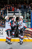 KELOWNA, CANADA - FEBRUARY 13: Gordie Ballhorn #4 and Rodney Southam #17 of the Kelowna Rockets conduct a post game ritual before exiting the ice after the win against the Seattle Thunderbirds on February 13, 2017 at Prospera Place in Kelowna, British Columbia, Canada.  (Photo by Marissa Baecker/Shoot the Breeze)  *** Local Caption ***