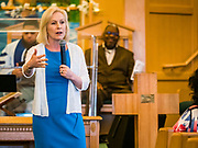 26 MAY 2019 - WATERLOO, IOWA: US Senator KIRSTEN GILLIBRAND (D-NY) speaks to congregants at Mt. Carmel Missionary Baptist Church in Waterloo Sunday. Sen. Gillibrand is on her 5th trip to Iowa this week to support her candidacy to be the Democratic nominee for the US Presidency. Iowa traditionally hosts the the first selection event of the presidential election cycle. The Iowa Caucuses will be on Feb. 3, 2020. Mt. Carmel Missionary Baptist Church was established in 1921 and is the third oldest African-American church in Waterloo. Waterloo has the largest African-American community in Iowa.             PHOTO BY JACK KURTZ
