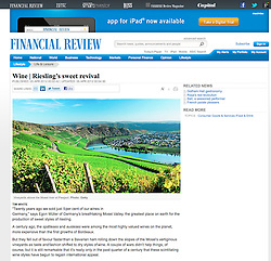 Financial Review magazine; Mosel valley vineyard