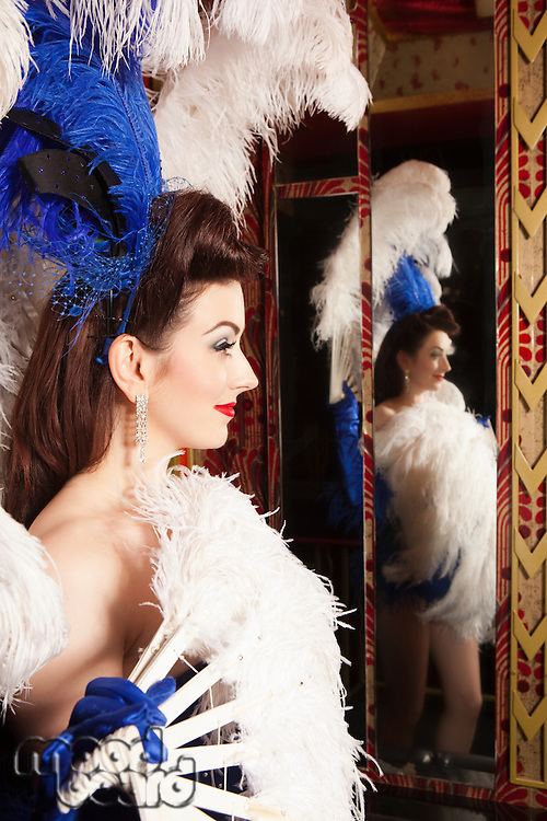 Showgirl with reflection in mirror