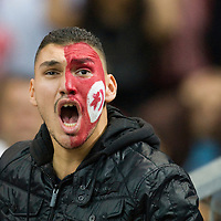 14 October 2008: A fan of Tunisia reacts during the friendly football match won 3-1 by France over Tunisia on October 14, 2008, at the Stade de France in Saint-Denis, near Paris, France.