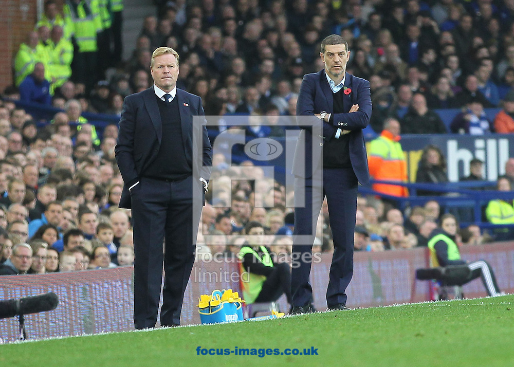 Everton manager Ronald Koeman and Slaven Bilic, manager of West Ham United on the touchline during the Premier League match at Goodison Park, Liverpool.<br /> Picture by Michael Sedgwick/Focus Images Ltd +44 7900 363072<br /> 30/10/2016
