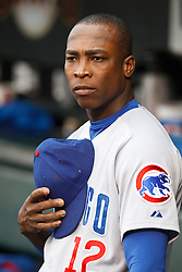 August 10, 2010; San Francisco, CA, USA;  Chicago Cubs left fielder Alfonso Soriano (12) during the national anthem before the game against the San Francisco Giants at AT&T Park.  Chicago defeated San Francisco 8-6.