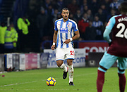 Huddersfield Town's Mathias Zanka Jørgensen during the Premier League match between Huddersfield Town and West Ham United at the John Smiths Stadium, Huddersfield, England on 13 January 2018. Photo by Paul Thompson.