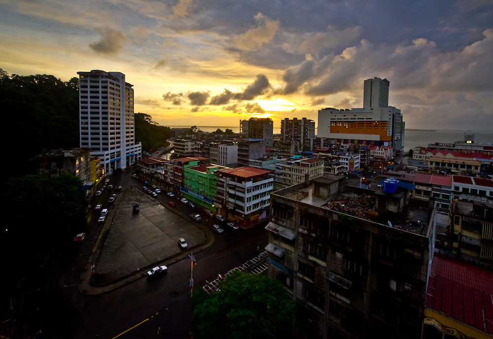 This is the early morning as the sun come above the horizon, Sandakan Borneo.