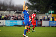AFC Wimbledon defender Paul Robinson (6) celebrating after winning game during the EFL Sky Bet League 1 match between AFC Wimbledon and Walsall at the Cherry Red Records Stadium, Kingston, England on 25 February 2017. Photo by Matthew Redman.