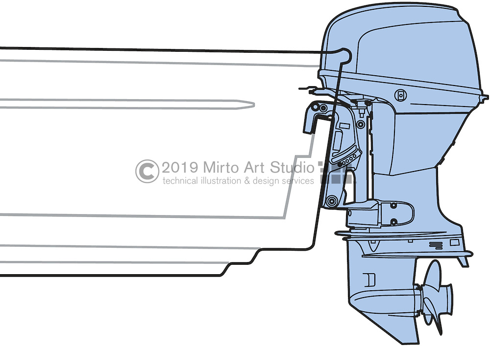 A vector illustration showing a marine outboard engine