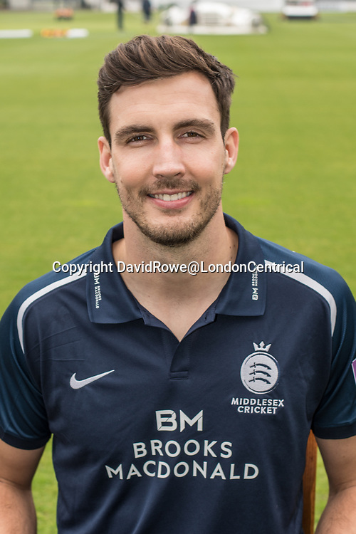 11 April 2018, London, UK.  Steve Finn of Middlesex County Cricket Club in the   blue Royal London one-day kit . David Rowe/ Alamy Live News