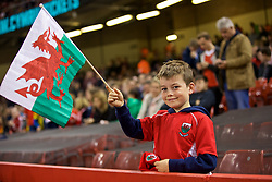 CARDIFF, WALES - Thursday, October 11, 2018: A young  Wales supporter during the International Friendly match between Wales and Spain at the Principality Stadium. (Pic by Laura Malkin/Propaganda)