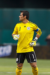 March 26, 2011; Oakland, CA, USA;  Paraguay goalkeeper Justo Villar (1) during the first half against Mexico at Oakland-Alameda County Coliseum. Mexico defeated Paraguay 3-1.
